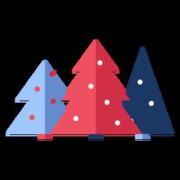 Invierno árboles de navidad planos