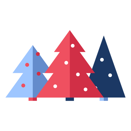Winter christmas trees flat Transparent PNG