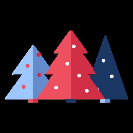 Winter christmas trees flat