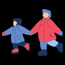 Invierno familia patines de hielo plana