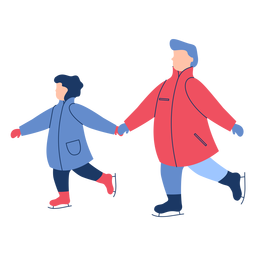 Patins de gelo da família inverno plana