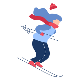 Winter girl skiing flat