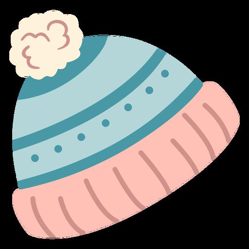 Chapéu de inverno com ponpon plano