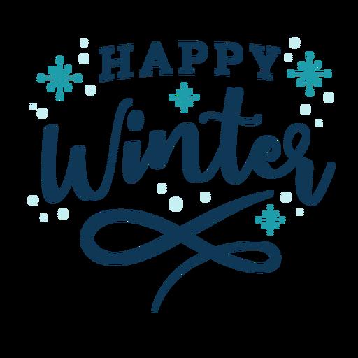 Winter lettering happy winter dark