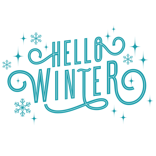 Winter lettering hello winter blue