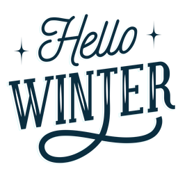 Winter lettering hello winter dark
