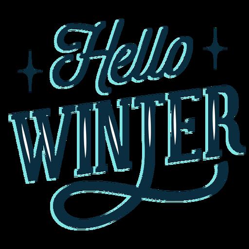 Winter lettering hello winter dark