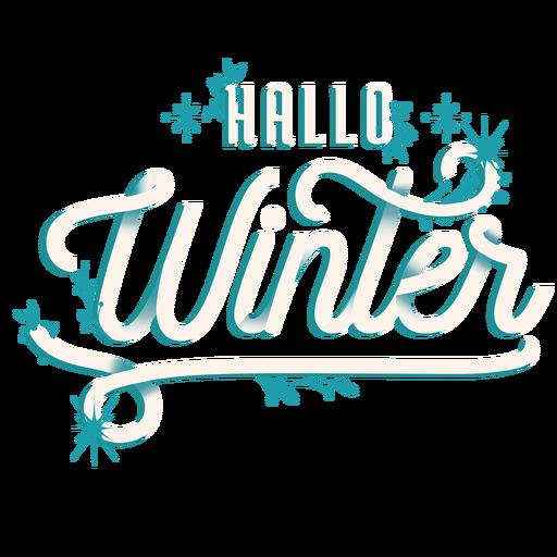 Winter lettering hello winter gradient