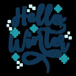 Olá letras de inverno inverno manuscrita