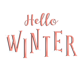 Winter lettering hello winter orange