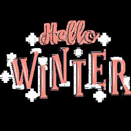 Winter lettering hello winter orange