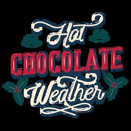 Letras de invierno clima de chocolate caliente