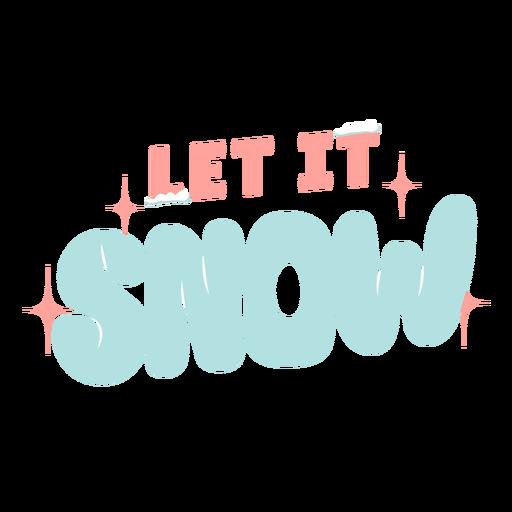 Winter lettering let it snow pastel