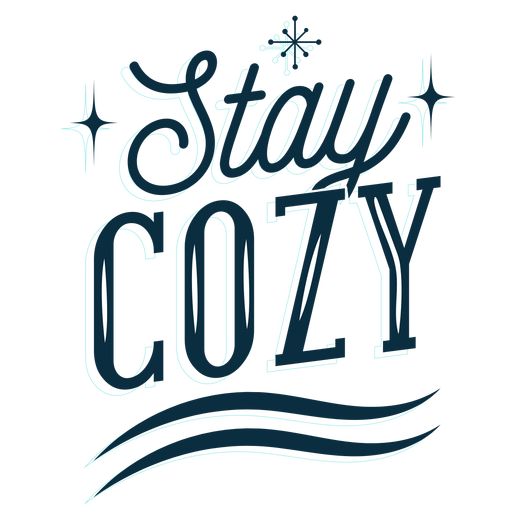 Winter lettering stay cozy dark