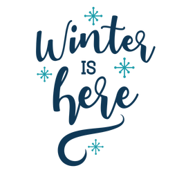 Letras de invierno el invierno está aquí escrito a mano