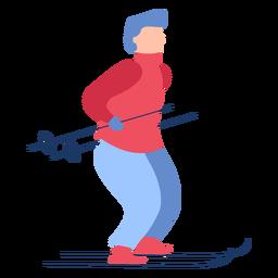 Hombre de invierno esquí plano