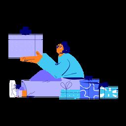 Ilustração de presentes de homem de inverno