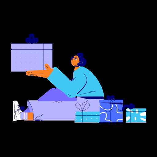 Ilustración de regalos de hombre de invierno