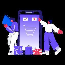 Ilustración de compras en línea de invierno