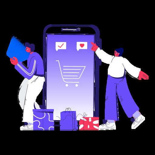 Winter online shopping illustration