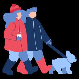 Invierno gente perro plano