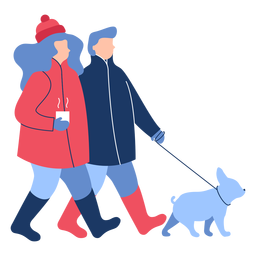 Winter people dog flat