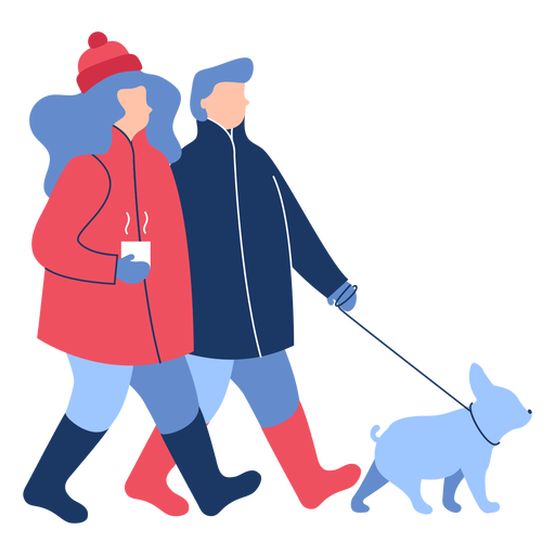 Winter people dog flat