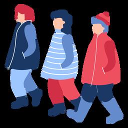Gente de invierno plana