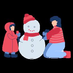Invierno personas muñeco de nieve plana