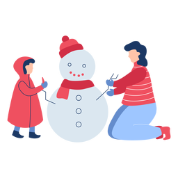 Invierno personas muñeco de nieve plano