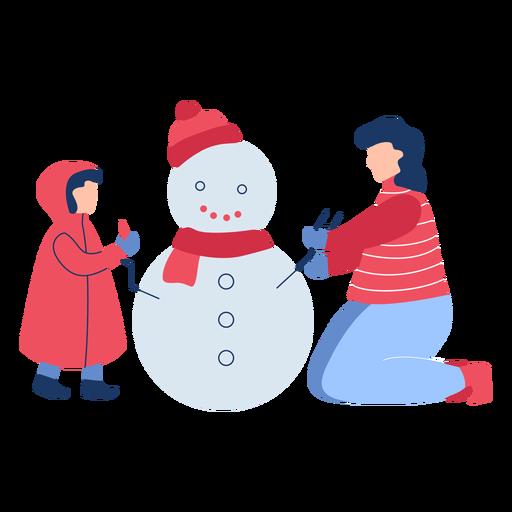Winter people snowman flat