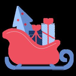 Winter santa sleigh flat