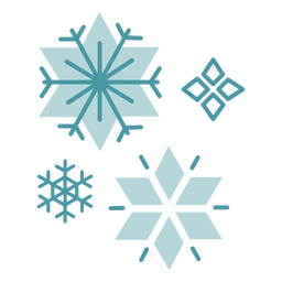 Flocos de neve de inverno planas