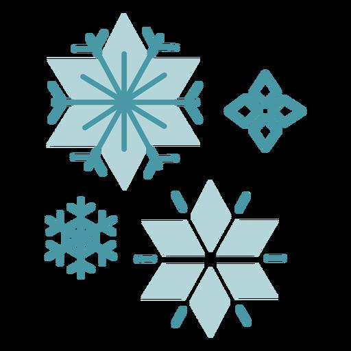 Copos de nieve de invierno plana Transparent PNG