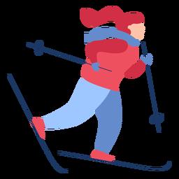 Invierno mujer esquí plano