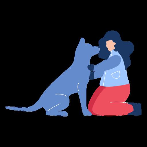 Winter woman dog flat