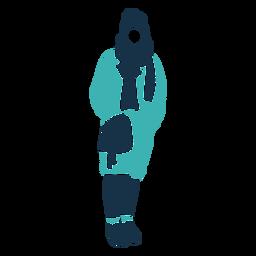 Personagem de saco de casaco de mulher inverno