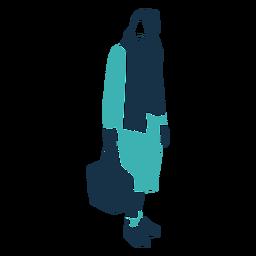 Carácter de invierno mujer bufanda bolsa
