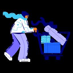 Ilustración de compras de mujer de invierno