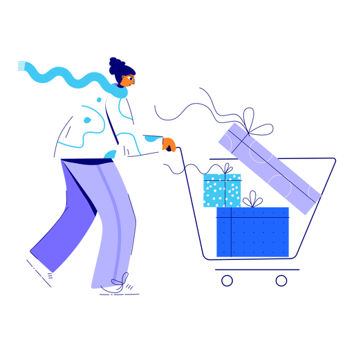 Winter woman shopping illustration