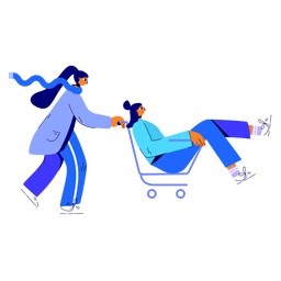 Winter womans shopping cart illustration