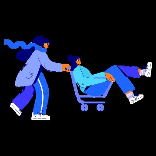 Ilustración de carrito de compras de mujer de invierno