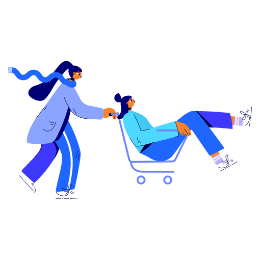 Winter womans shopping cart illustration