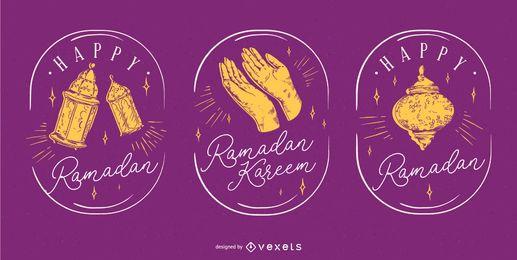 Conjunto de crachá de Ramadã mão desenhada