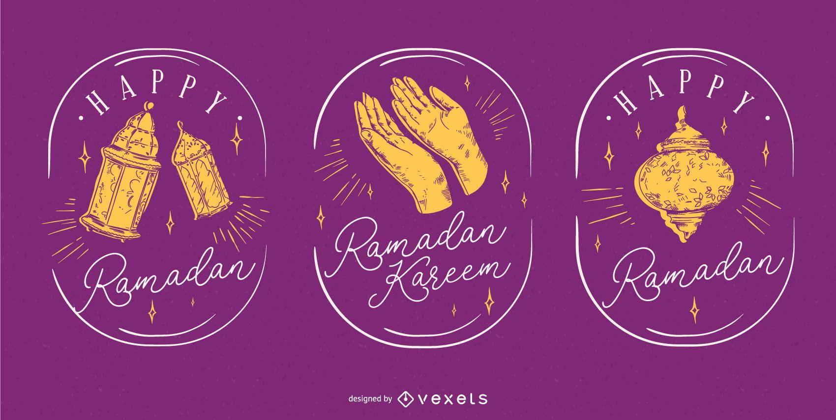 Ramadan Hand Drawn Badge Set