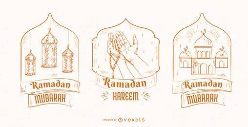 Conjunto de crachá de ilustração do Ramadã
