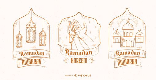 Ramadan Illustration Badge Set