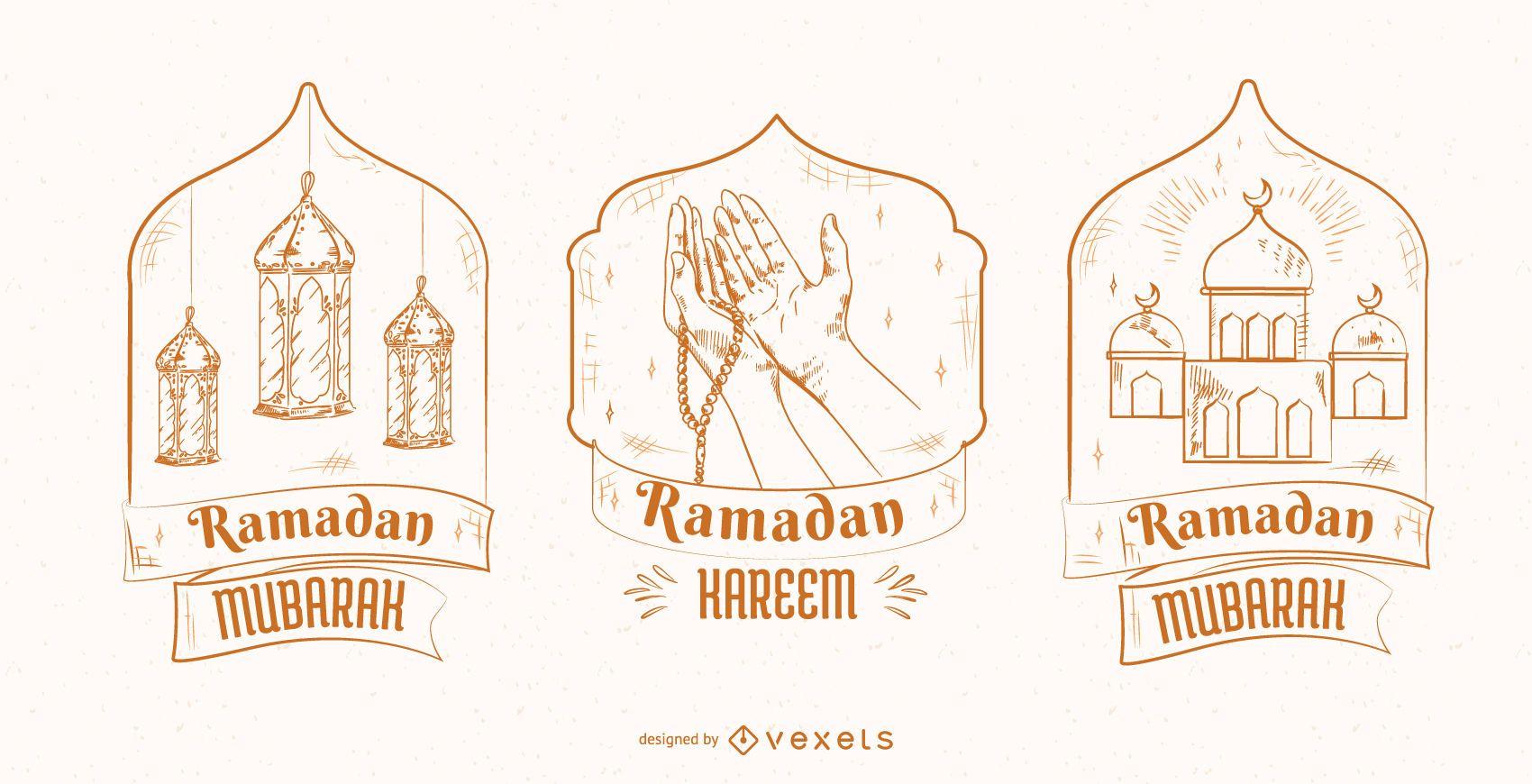 Ramadan Illustration Badge Set