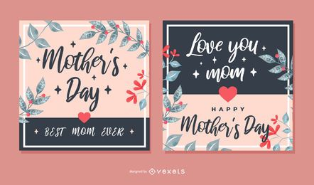 Conjunto de cartões quadrados de dia das mães