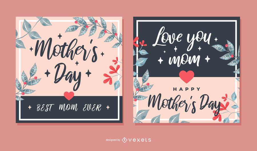 Mother's Day Square Greeting Card Set